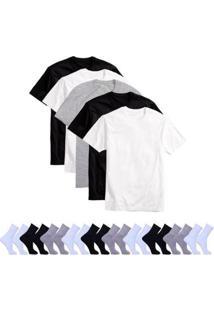 Kit 5 Camisetas Básicas Masculina T-Shirt Algodão + 10 Pares De Meias - Masculino