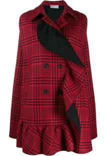 Red Valentino Checked Double-Breasted Cape - Vermelho