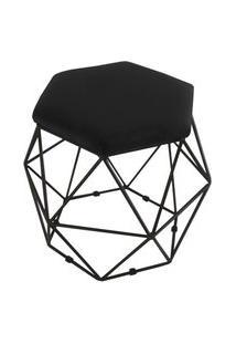 Puff Aramado Preto Assento Hexagonal Suede Preto - Ds Móveis