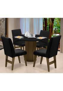 Conjunto De Mesa Para Sala De Jantar Com 4 Cadeira Turim-Dobue - Castanho / Preto / Preto Vlp Bordado