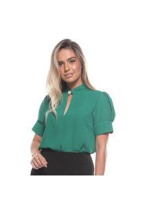Blusa Feminina Romântica Manga Bufante Gola Alta Com Pérola Verde Gg Verde