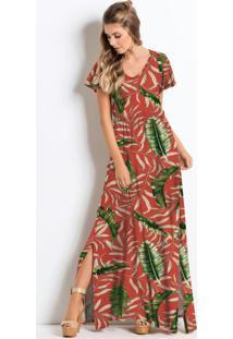 Vestido Longo Com Fendas Folhagem Laranja