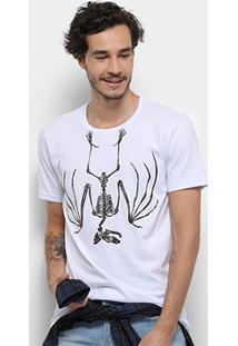 Camiseta Bulldog Fish Dead Bat Masculina - Masculino-Branco