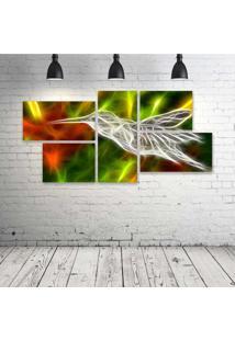 Quadro Decorativo - Hummingbird-Neon - Composto De 5 Quadros