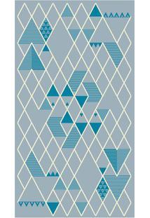 Tapete Lyre Geométrico- Azul & Cinza- 150X100Cm-Tapete São Carlos