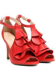 Sandália Couro Shoestock Babados Feminina - Feminino-Vermelho