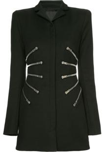 Alexander Wang Sculpted Jacket With Zipper Detail - Preto