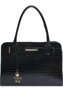 Bolsa De Mão Em Couro Com Bag Charm - Preta - 36X23Xdi Marlys