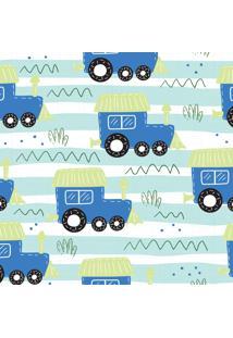 Papel De Parede Adesivo Trenzinho Azul 2,70X0,57M