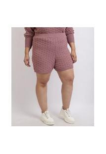 Short Feminino Mindset Plus Size Reto Em Tricô Cintura Alta Lilás