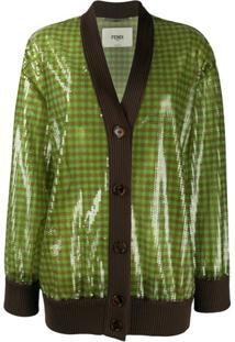 Fendi Cardigan Gola V Com Paetês - Verde