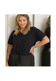Blusa Lisa Com Amarração E Puxadinho Frontal Curve & Plus Size | Ashua Curve E Plus Size | Preto | Eg