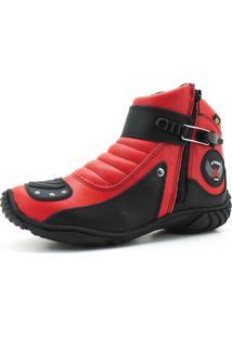 Coturno Motociclista Em Couro Atron Shoes Vermelho E Preto