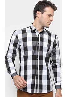 Camisa Xadrez Watkins&Krown Masculina - Masculino-Preto+Branco