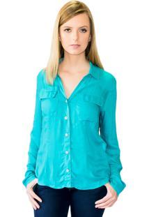 Camisa Social Silvana Harnisch Lisa Azul
