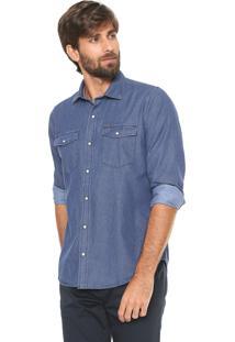 Camisa Jeans Aleatory Reta Xadrez Azul