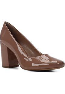 Scarpin Shoestock Verniz Salto Alto Bloco - Feminino-Nude