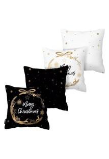 Kit Com 4 Capas Para Almofadas De Natal Merry Christmas Armonizzi