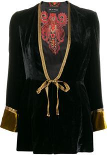 Etro Tie Front Velvet Jacket - Preto