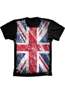 Camiseta Manga Curta Lu Geek Flag England Preto