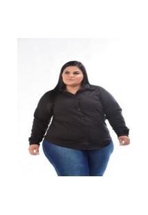 Camisa De Tricoline Feminina Stretch Preta Plus Size 3150 Multicolorido