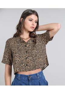 Camisa Feminina Cropped Estampada Animal Print Manga Curta Bege