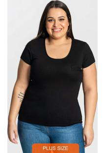 Blusa Básica Feminina Plus Size Preto