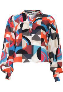 Camisa Cropped Polo Wear Geométrica Laranja/Azul