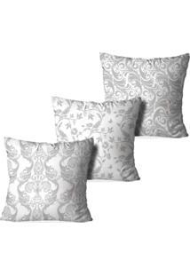 Kit 3 Capas Love Decor Para Almofadas Decorativas Arabescos Multicolorido Cinza
