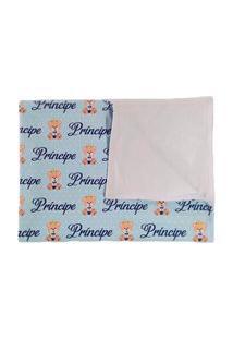 Manta De Bebê Ursinho Príncipe Cobertor Dupla Face Branco Calupa