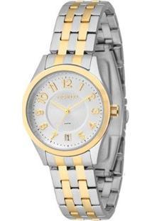 Relógio Feminio Technos Analógico Casual 2115Knk/5K Feminino - Feminino-Prata+Dourado