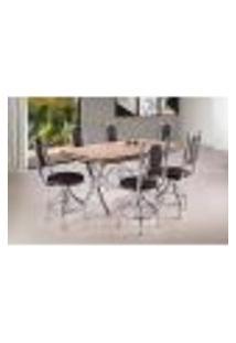Conjunto De Mesa De Jantar Retangular Atenas Carvalho E 6 Cadeiras Leeds Corino Tabaco