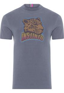 Camiseta Masculina Estampada Instinto - Cinza