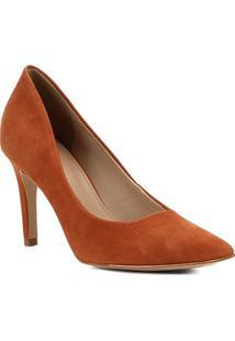 Scarpin Shoestock Couro Salto Alto - Feminino-Caramelo