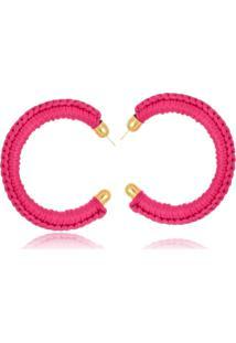 Brinco Argola Le Diamond Tecido Bordado Pink
