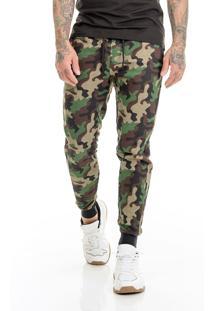 Calça Offert Jogger Moletom Premium Camuflada Slim Fit