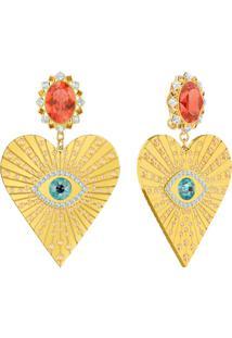 Brincos De Pressão Lucky Goddess Heart, Multicolor, Banho De Ouro