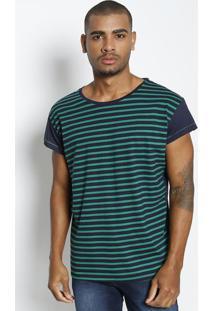 Camiseta Listrada- Verde & Azul Marinho- Tritontriton