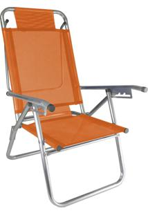 Cadeira Praia Reclinável Zaka Infinita Up Alumínio Até 120 Kg Laranja