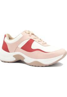 Tênis Sneaker Dakota Chunky Recortes Feminino - Feminino-Branco+Vermelho