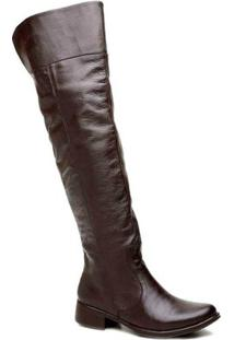 Bota Over The Knee Couro Cla Cle - Feminino-Cafe