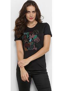 Camiseta Lez Lez Viva La Vida Feminina - Feminino-Preto