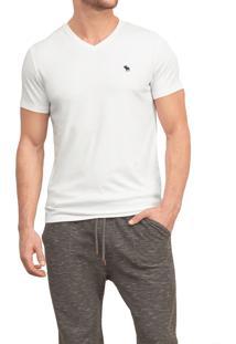 Camiseta Manga Curta Abercrombie Básica Branca