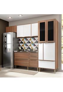 Cozinha Compacta 10 Portas 4 Gavetas 5453 Nogueira/Branco - Multimóveis