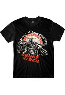 Camiseta Bsc Skull Ghost Rider Sublimada Preto