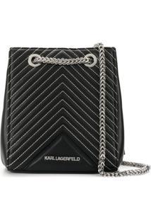 Karl Lagerfeld Bolsa Transversal 'K/ Klassik' De Couro - Preto