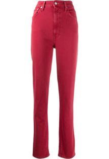 Helmut Lang Calça Jeans Skinny Cintura Alta - Vermelho
