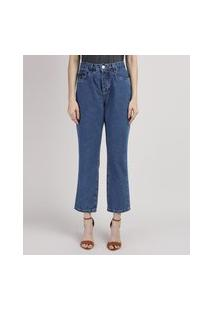 Calça Jeans Feminina Mindset Reta Cropped Cintura Alta Azul Escuro
