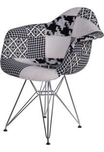 Cadeira Eames Com Braco Base Cromada Patchwork Black - 36400 - Sun House