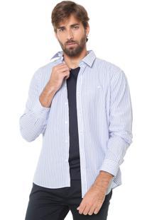 Camisa Ellus Reta Listras Branca/ Azul